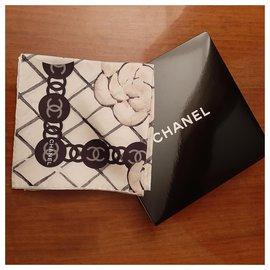 Chanel-Silk scarf-Eggshell
