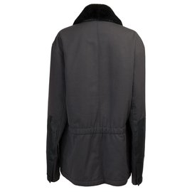 Hermès-Very beautiful Hermès men's canvas jacket, leather and silver trim, New condition-Black