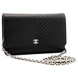 Chanel-CHANEL V-Stitch Caviar Wallet On Chain WOC Black Shoulder Bag-Black