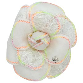 Chanel-white camellia brooch and neon threads-White,Multiple colors