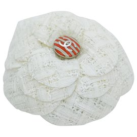 Chanel-camellia brooch with orange sailor pattern-White