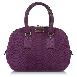 Burberry-Burberry Purple Small Orchard Python Leather Satchel-Purple
