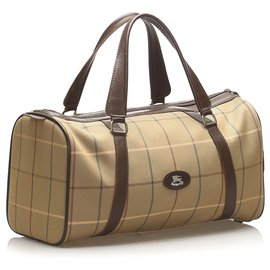 Burberry-Burberry Brown Plaid Canvas Boston Bag-Brown,Multiple colors,Beige