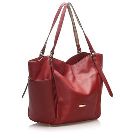 Burberry-Burberry Red Canterbury Leather Tote Bag-Red