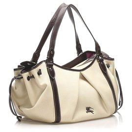 Burberry-Burberry White Leather Tote Bag-Black,White