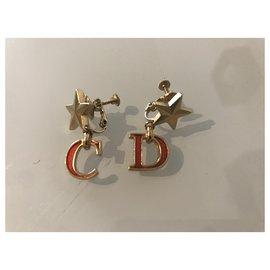 Dior-Boucles d'oreilles-Rouge,Bijouterie dorée