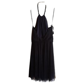 Pinko-Low-cut tulle dress-Dark blue