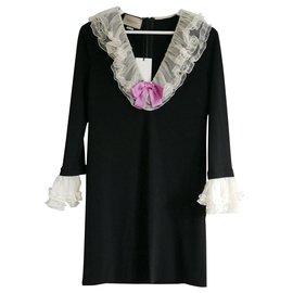 Gucci-Frilled Neck Dress-Black