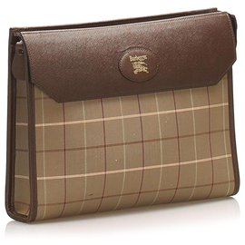 Burberry-Burberry Brown Plaid Canvas Clutch Bag-Brown,Beige