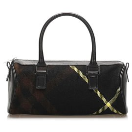 Burberry-Burberry Black Plaid Cotton Handbag-Black,Multiple colors