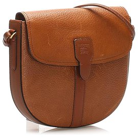 Burberry-Burberry Brown Leather Crossbody Bag-Brown