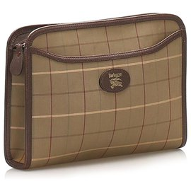 Burberry-Burberry Brown Plaid Canvas Clutch Bag-Brown,Multiple colors,Beige