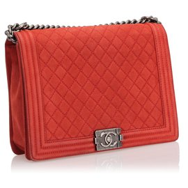 Chanel-Chanel Red Large Boy Lambskin Leather Flap Bag-Red