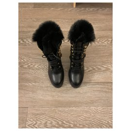 Balmain-New leather boots never worn-Black