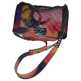 Chanel-Chanell Boy Flower Power in excellent condition made of lambskin with a quilted flap pocket-Other