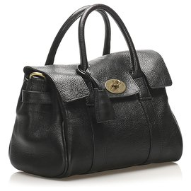 Mulberry-Mulberry Black Bayswater Leather Satchel-Black
