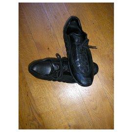 Dior-Sneakers cuir noir, pointure 36.-Noir