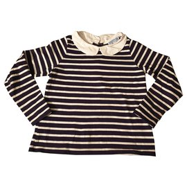 Jacadi-Tops Tees-White,Navy blue