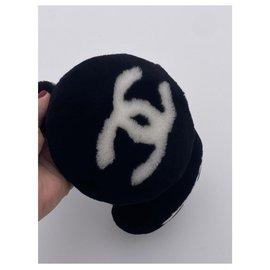 Chanel-Chanel, CHANEL CC MOUTON EAR MUFFS SHEEP BLACK FUR-Black,White