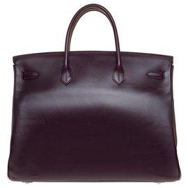 Hermès-Splendid and Rare Hermès Birkin 40 in purple box leather, brushed silver metal trim-Purple