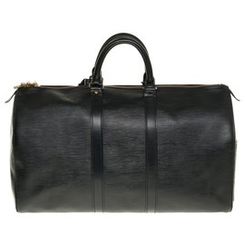 Louis Vuitton-Very beautiful Louis Vuitton Keepall travel bag 45 black epi leather, garniture en métal doré-Black