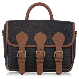 Mulberry-Mulberry Black Mulberry X Acne Studios Leather Satchel-Brown,Black