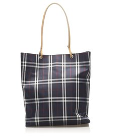 Burberry-Burberry Blue Plaid Canvas Tote Bag-Blue,Multiple colors
