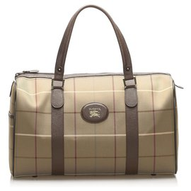 Burberry-Burberry Brown Plaid Canvas Boston Bag-Brown,Multiple colors