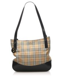 Burberry-Burberry Brown House Check Canvas Shoulder Bag-Brown,Multiple colors,Beige