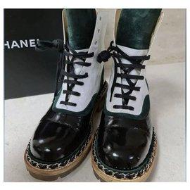 Chanel-Chanel Multicolor Leather Ankle Boots CC Sz.39-Multiple colors