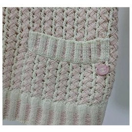 Chanel-Chanel Logo Knitted Skirt Suit Sz.38/40-Pink
