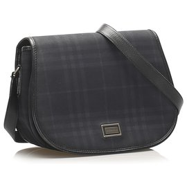 Burberry-Burberry Blue Plaid Coated Canvas Crossbody Bag-Blue,Dark blue