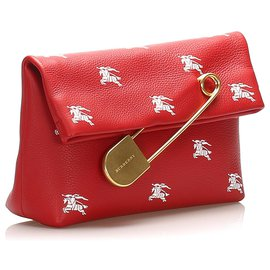 Burberry-Burberry Red Safety Pin Leather Clutch Bag-White,Red