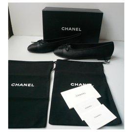 Chanel-CHANEL New black iridescent leather ballerinas41-Black
