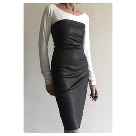 Stouls-STOULS bodycon strapless dress in washable stretch leather T. XS-Dark brown
