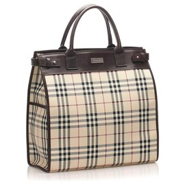 Burberry-Burberry Brown House Check Canvas Satchel-Brown,Multiple colors,Beige