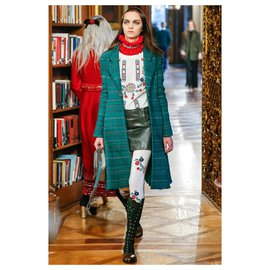 Chanel-Paris-Salzburg emerald leather skirt-Dark green