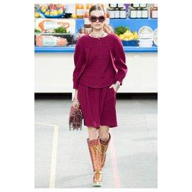 Chanel-Supermarket tweed suit-Dark red