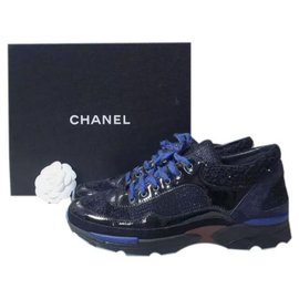 Chanel-CHANEL CC LOGO Black Patent Leather Tweed  Sneakers Sz.38-Multiple colors