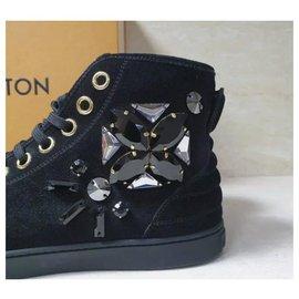Louis Vuitton-LOUIS VUITTON BLACK SUEDE EMBELLISHED SNEAKERS SZ 38-Black