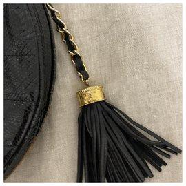 Chanel-Vintage Bandoulière Chanel Lizard-Noir