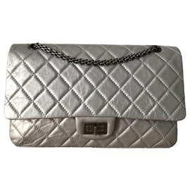 Chanel-Chanel bag 2.55 in gray quilted leather-Grey