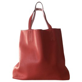 Hermès-lined meaning bag 45 in red leather-Red