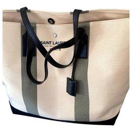Saint Laurent-Saint Laurent canvas tote bag-Black,White
