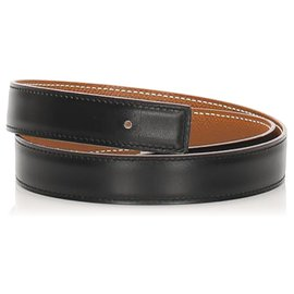 Hermès-Hermes Black Reversible Leather Belt-Black