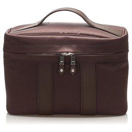Hermès-Hermes Brown Acapulco Canvas Vanity Bag-Brown,Dark brown
