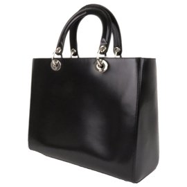 Dior-Cartable Dior Noir Medium Lady Dior en cuir-Noir