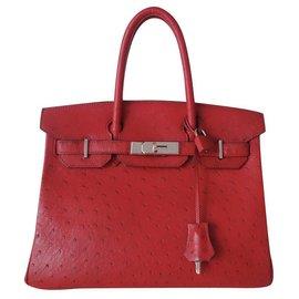 Hermès-HERMES BIRKIN BAG 30 Ostrich-Red