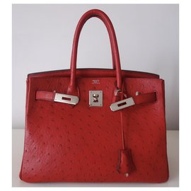 Hermès-Sac Hermes Birkin 30 autruche-Rouge
