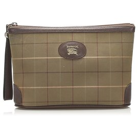 Burberry-Burberry Brown Plaid Canvas Pouch-Brown,Multiple colors